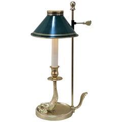French Single Light Bouillotte Desk or Table Lamp