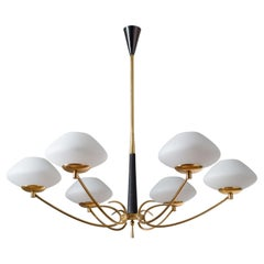 French Six-Arm Chandelier, 1950s