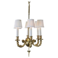French Six-Arm Empire Bronze Chandelier