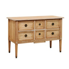 French Six-Drawer Carved Pale Wood Chest from the Mid-20th Century