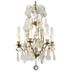 French Six-Light 1890s Crystal Chandelier with Brass Armature and Pendeloques