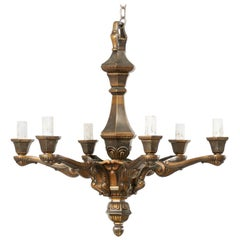 French Six-Light Bronze Chandelier from the Mid-20th Century