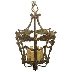 French Six-Light Bronze Lantern with Decorative Garland, Late 19th Century
