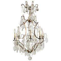 French Six-Light Crystal and Iron Chandelier with Obelisks, Late 19th Century