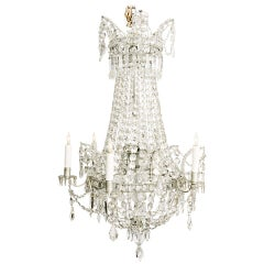 French Six Light Empire Style Crystal Chandelier