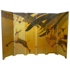French Six Panel Gilt Art Deco Hand Painted Screen with Deer