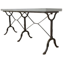 French Slate Top Triple Iron Leg Pastry Table