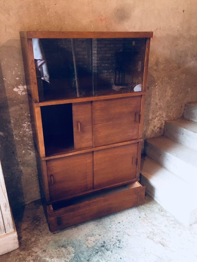 Mid-20th Century French Sliding Glass Doors Bookcases, 1950s For Sale