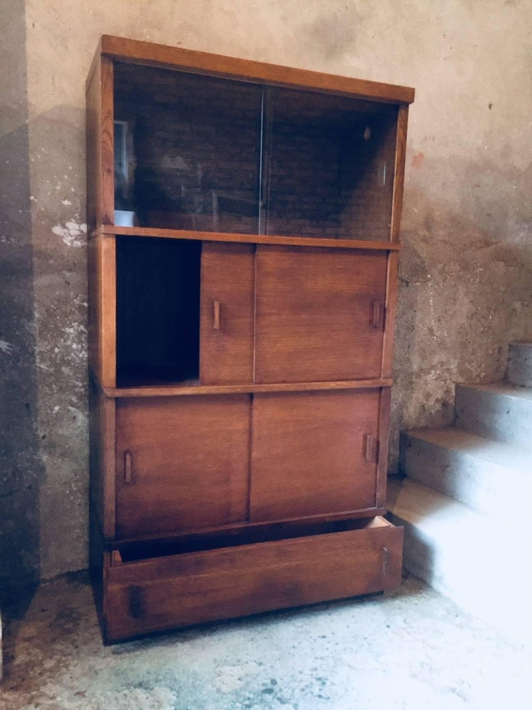 Wood French Sliding Glass Doors Bookcases, 1950s For Sale