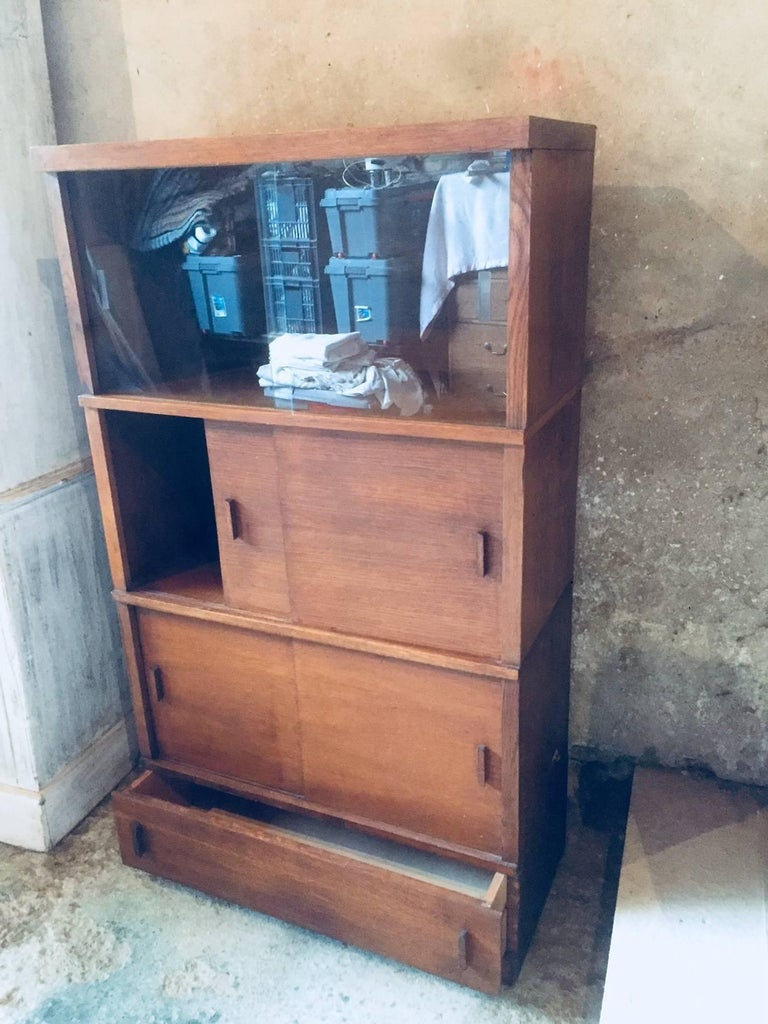 French Sliding Glass Doors Bookcases, 1950s For Sale 1