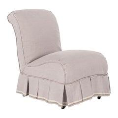 French Slipper Chair Slip-Covered in Lavender Linen