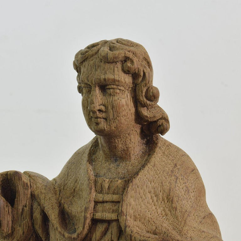 French Small 18th Century Weathered Oak Saint Statue For Sale 4
