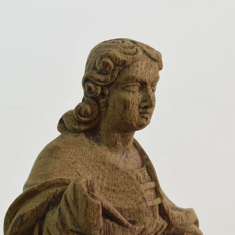 French Small 18th Century Weathered Oak Saint Statue For Sale 5