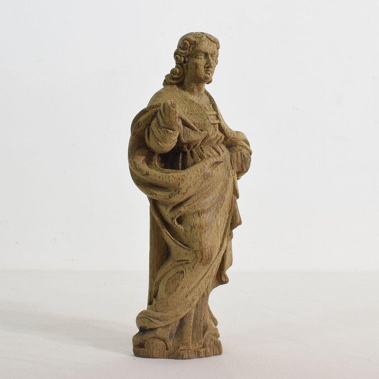 Baroque French Small 18th Century Weathered Oak Saint Statue For Sale