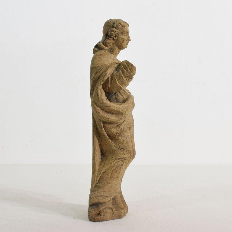 Hand-Carved French Small 18th Century Weathered Oak Saint Statue For Sale
