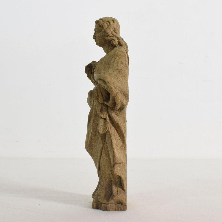 18th Century and Earlier French Small 18th Century Weathered Oak Saint Statue For Sale