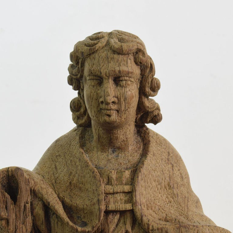 French Small 18th Century Weathered Oak Saint Statue For Sale 3