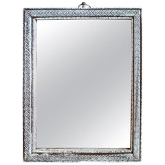 French Small Silver Painted Wood Framed Portrait Mirror with Original Glass
