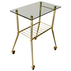 French Smoked Glass Brass Drinks Trolley Midcentury, 1950s