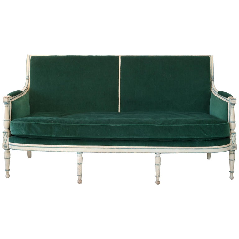 French Sofa Directoire circa 1800 Grey Painted ,New Upholstery For Sale