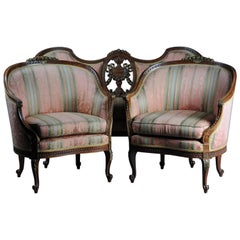 French Sofa Group Canape and 2 Bergeren, circa 1900, Beechwood