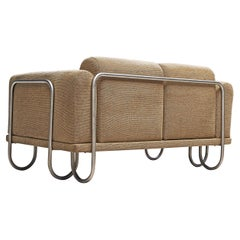 French Sofa in Beige Fabric with Tubular Frame