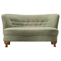 French Sofa Settee in Light Green Fabric
