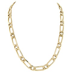 French Solid 18k Rosy Yellow Gold Open Unique Link Chain Necklace
