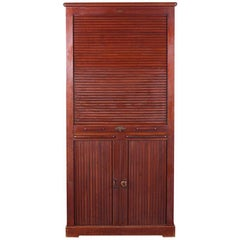 French Solid Mahogany Tambour Front Cartonier