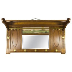 French Solid Oak and Brass Coat Rack with Beveled Mirror and Landscape Painting