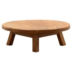 French Solid Oak Brutalist Coffee Table
