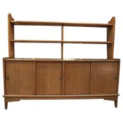 French Solid Oak Midcentury Shelf Cabinet, circa 1950