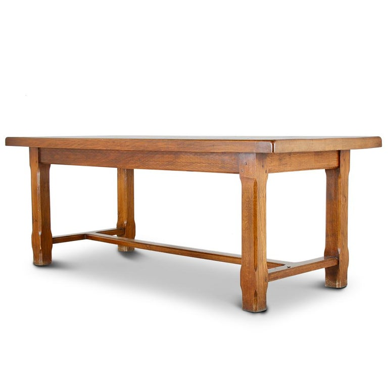 French Solid Oak Trestle Table In Good Condition For Vancouver British Columbia