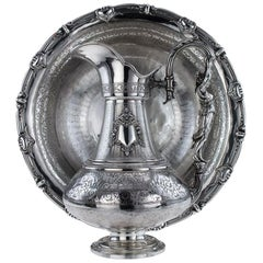 French Solid Silver Exceptional Figural Ewer and Basin, Paris, circa 1880