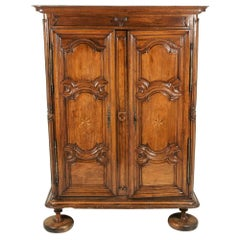 French Solid Walnut and Oak 18th Century Armoire