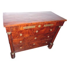 French Solid Yew Wood Four-Drawer Empire Commode, circa 1840