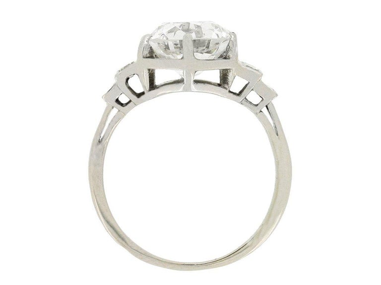 Baguette Cut French Solitaire Diamond Engagement Ring with Diamond Set Shoulders For Sale