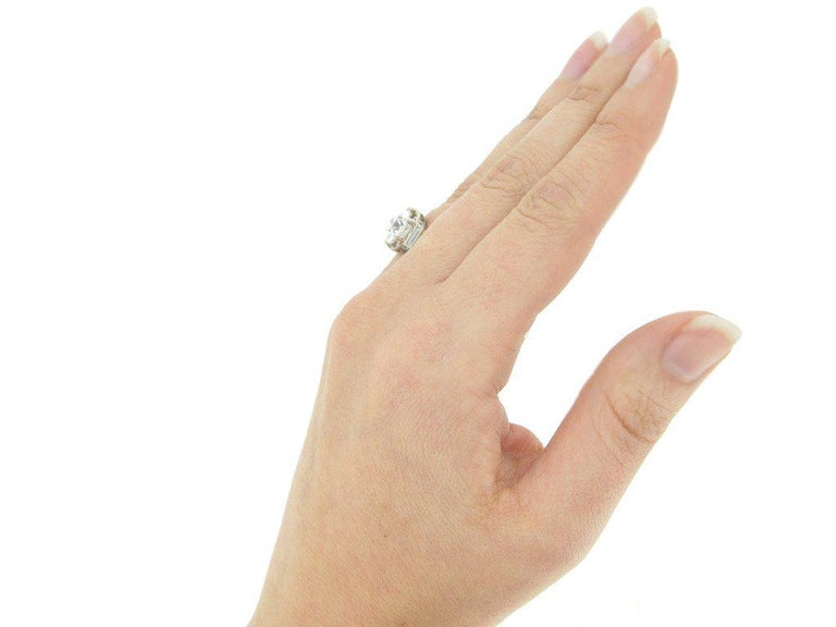 Women's French Solitaire Diamond Engagement Ring with Diamond Set Shoulders For Sale