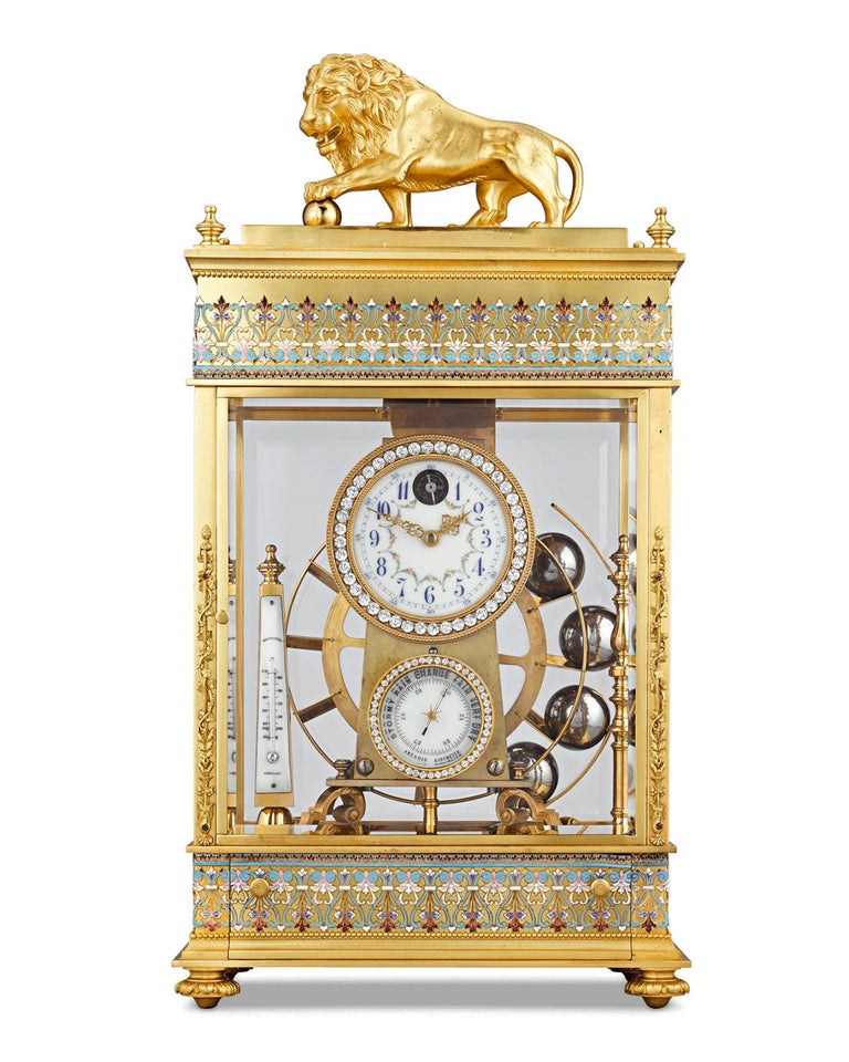 This French spherical weight mantel clock is as much a mechanical wonder as it is a work of art. Also known as a