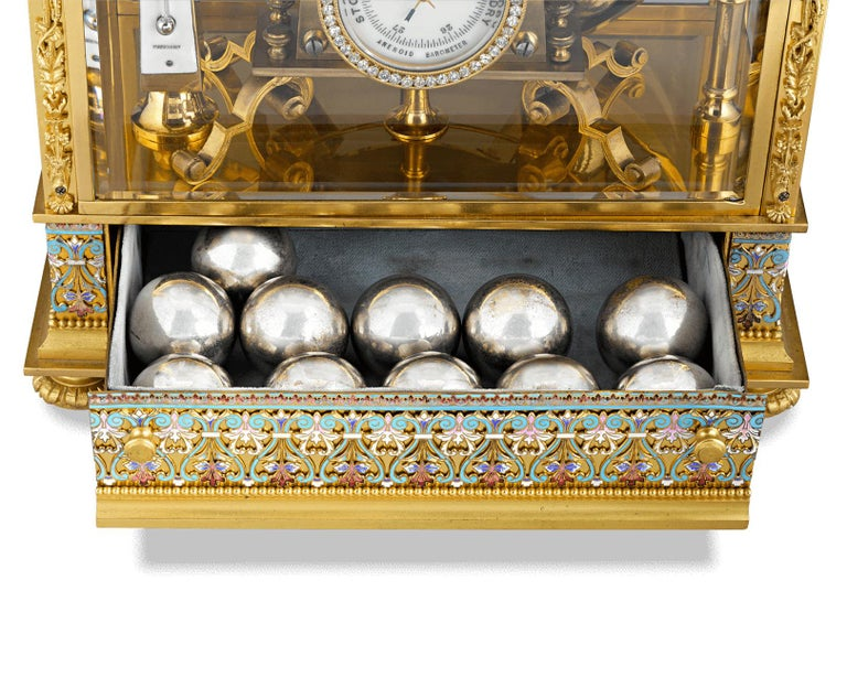 Brass French Spherical Weight Mantel Clock