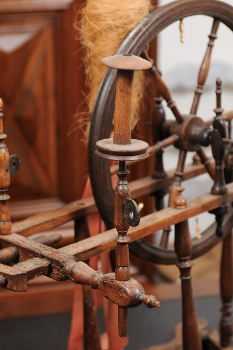 Wood Rustic French Spinning Wheel with Original Parts from the 18th Century For Sale
