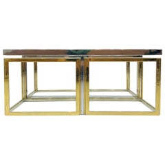 French Square Brass and Chrome Coffee Table by Jean Charles for Maison Charles