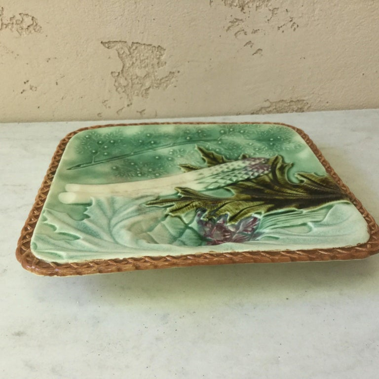 Country French Square Majolica Asparagus Plate, circa 1890 For Sale