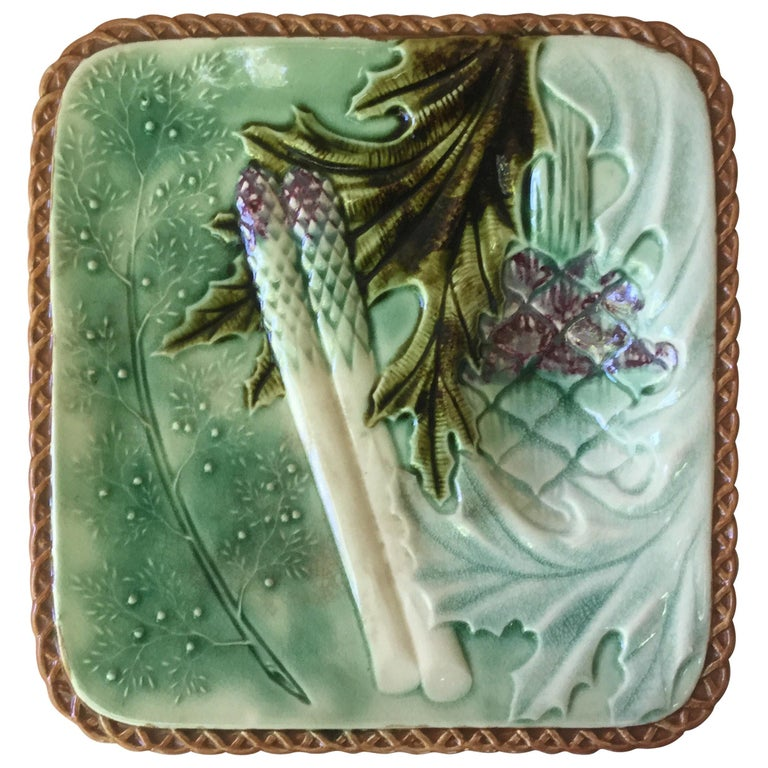 French Square Majolica Asparagus Plate, circa 1890 For Sale