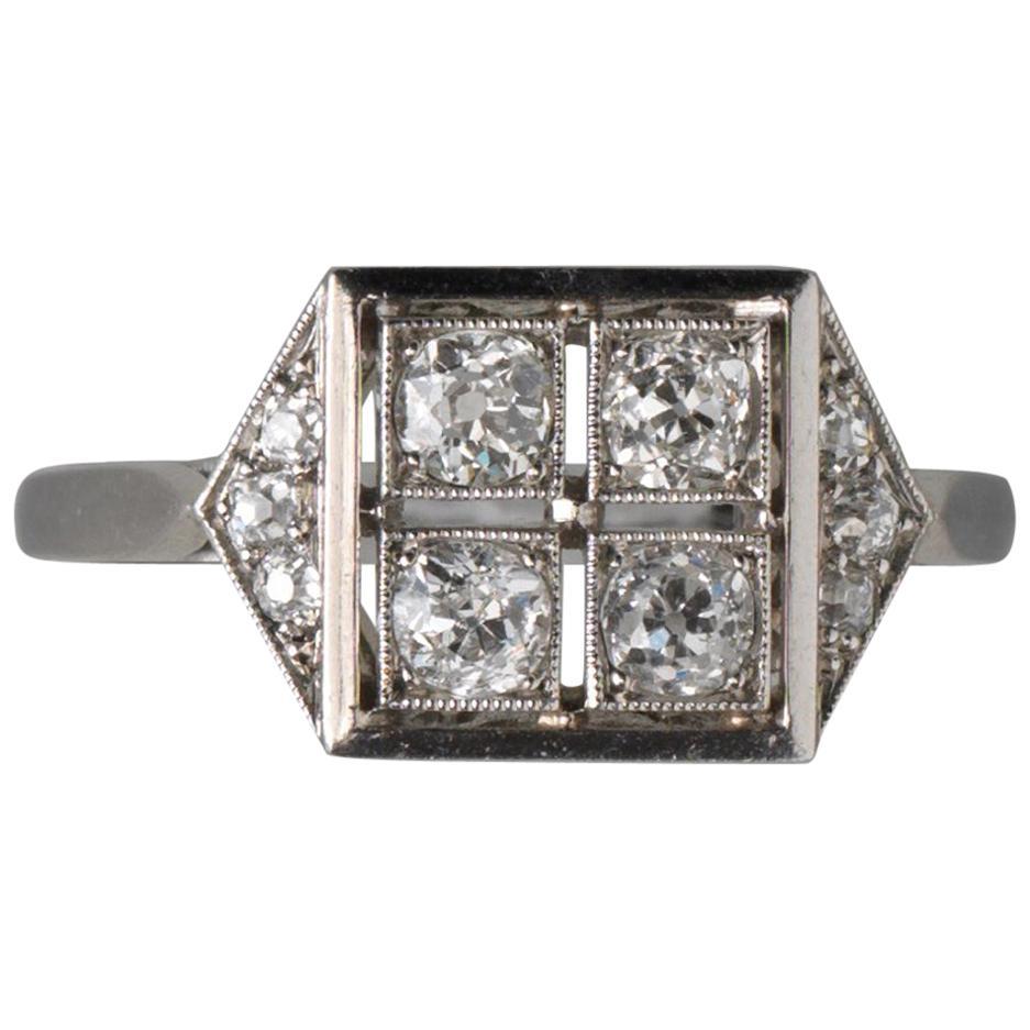 French Square Platinum Art Deco Ring with Diamonds