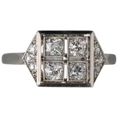 French Square Platinum Art Deco Ring with Diamonds