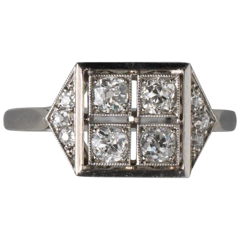 French Square Platinum Art Deco Ring with Diamonds For Sale
