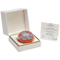 French St Louis Limited Edition Millefiori Orange Glass Paperweight, 1984