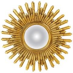 French Starburst or Sunburst Convex Mirror with Gilt Cast Frame