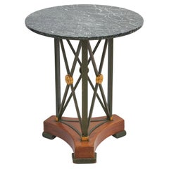 French Steel and Wooden Gueridon with Verde Antico Marble Top, circa 1950
